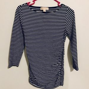 Michael Kors Black and White Striped Top